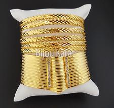 6 Altin Bilezik üclü Trabzon Bileklik Kelepce Gold Armreifen 24 Karat vergoldet