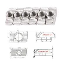 50x Hammer Kopfnuss T-Nut Aluminium Profilmutter Carbon Steel Nut Verschluss a0l