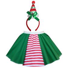 Ladies ELF COSTUME, Stripe Elf Skirt and HAT Head Accessories CHRISTMAS COSTUME