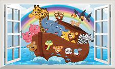 Noahs Ark Magic Finestra Wall Art Autoadesivo Adesivo Decalcomania poster stampa 3D