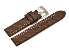 Uhrenarmband Breitdornschließe HighTech Textil braun mit oranger u. weißer Naht