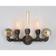 Triple Vintage Unique Style Industrial Rustic Bronze Steampunk Wall Light Clock
