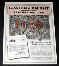 1918 OLD MAGAZINE PRINT AD, GRATON & KNIGHT LEATHER BELTING, BEARING PLANT ART!