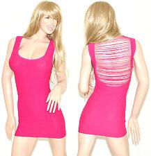 MINI ABITO donna vestito corto rosa fucsia estivo sexy aderente tubino dress 56