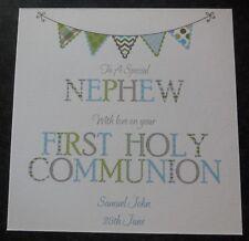 Personalised Handmade First Holy Communion Card (HC10) Nephew Grandson Son etc