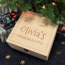 Personalised Vigilia di Natale di bambini in legno inciso scatola regalo, natale Post