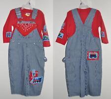 New Train Railroad Bib Overalls, blue denim Jeans, Sizes 9mo-4T, baby & toddler