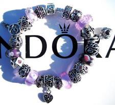 PANDORA Sterling Silver CHARM Bracelet LAVENDER FIELDS with Murano Beads CC13