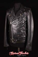 Men's BRANDO' Black SLIM-FIT Biker Leather Jacket Napa Leather Motorcycle Jacket