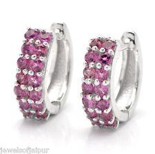 925 Sterling Silver Round Peridot or Rhodolite Gemstone Huggie Earrings Jewelry