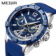 MEGIR Chronograph Sport Men Watch Silicone Creative Quartz Watch Men Wristwatch