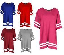 Ladies Oversized Baseball Stripe American Varsity College Jersey TShirt Top