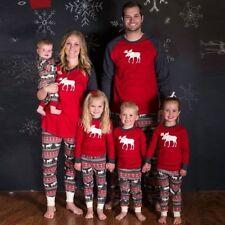 XMAS Family Christmas Pajamas Set Womens Men Kids Sleepwear Nightwear Suit Cloth