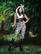 Dreamgirl 3 pc Zebralicious Pantsuit Costume, Zebra Animal Print, XS - Large