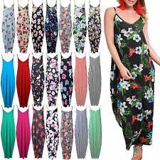 Señoras Mujeres Floral Estampado Camisola en capas sin mangas Maxi vestido con tiras