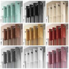 Madeira Voile Curtain Panels Crushed Silk Metallic Eyelet Sheer Ring Top Panels