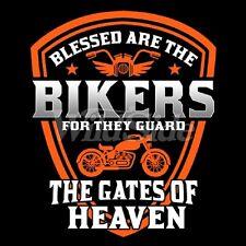 NEW Mens Short Sleeve Blessed Bikers Motorcycle T-Shirt Biker Casual Black