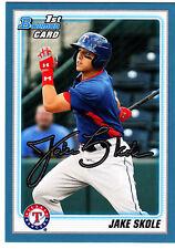 Jake Skole Texas Rangers 2010 Bowman Draft Blue Border