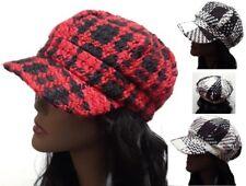 Cotton Plaid Newsboy Hat Visor Cap Style Designer