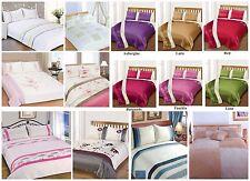 Embellished Floral Stripe Plain Duvet Cover Quilt Bedding Set Single Double King