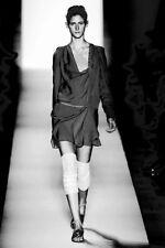 NWT £460 French Designer VANESSA BRUNO Runway SILK DRESS Noir FR 38-42 UK 10-14