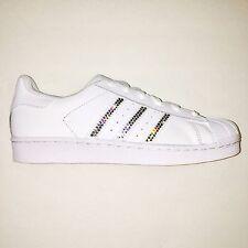 Bling Women's Adidas Shoes w/ Swarovski Crystals Originals Superstar White w/clr