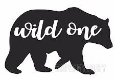 IRON ON TRANSFER / STICKER -  WILD ONE - BEAR - BOHO - T-SHIRT TRANSFER