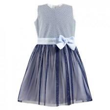 90304acf3216 AL-DA Mädchen Kleid Festlich Party Einschulung Hochzeit Blumenmädchen Tüll  Blau