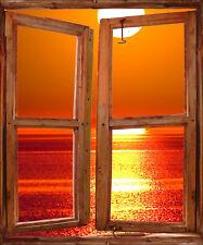 Sticker trompe l'oeil fenêtre Couché de Soleil réf 722