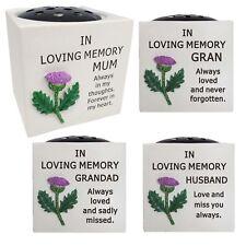 Memorial Raised Thistle Rose Bowl Flower Holder Pot Grave Keepsake Stone Vases