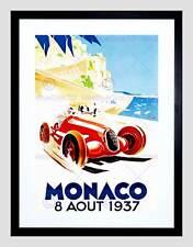 Pubblicità Auto da Corsa Gran Premio di Monaco 1937 NUOVO NERO Framed Art Print b12x10459