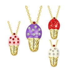 Ice Cream Aaa Zirconia Lobster B176 Yellow Gold Plated Necklace Women's Pendant