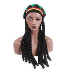Jamaican Bob Marley Rasta Beanie Hat Men Fancy Cap reggae African Hair Wig Braid