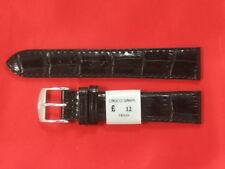 12,18,20,22,24 mm Black Croco Grano cinturino in pelle