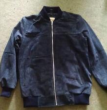 Men's Fashion Bomber Cow-Suede Dark Blue Leather Jacket / Coat