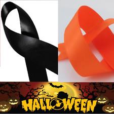 Halloween Orange & Black Satin Ribbon Various Widths