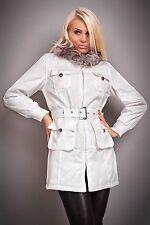 NEW SEXY WHITE FUR COLLAR JACKET + BELT 8 10 12 14 LADIES WOMENS COAT TRENCHCOAT
