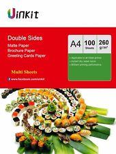 Uinkit  100-1000 Sheets A4 260Gsm Double Sides Matt Inkjet Photo Paper Printing