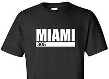 MIAMI 305 T-SHIRT AREA CODE FLORIDA FL SOUTH BEACH SWAG TEE BLACK SHIRT