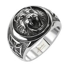 316L Stainless Steel Men's Lion Head w/ Maltese Celtic Cross Ring Size 9-14