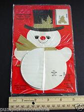 #E828- Vintage Unused Honeycomb Xmas Greeting Cards Gift Trim Sweet Snowman