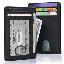 Men's RFID Blocking Minimalist Wallet Leather Cash Strap Money Clip US