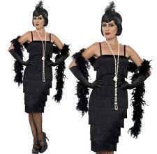 Ladies 20s Long Length Flapper Fancy Dress Costume & Gloves S-XXL Black Smiffys