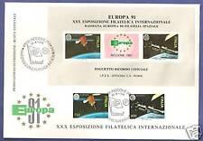 FOGLIETTO F.D.C. IPZS EUROPA 1991 FRANCOBOLLI NATURALI