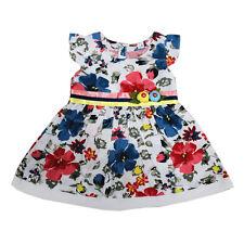 nuevo de bebé niña azul y rojo Vestido Flores Algodón Fiesta 3-6,6-9,9-12 Meses