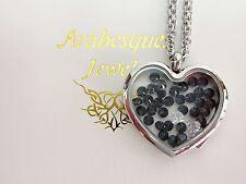 ARABESQUES CHARM POTS Black Diamond living memory/floating pendant/locket Silver