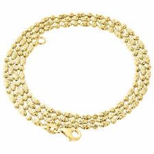 10K Yellow Gold 2MM Beaded Typhoon Moon Cut Italian Chain Necklace 16 - 24 Inch