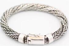 "Handmade Sterling Silver Large Bali Style Round Weave Bracelet Sz 7.5"", 8"", 8.5"""