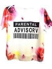 CAD16 - T-Shirt Taches Couleur avec Doublure Maille Filet et Message -Mode Femme