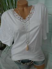 537 60//62 Übergröße Simone Unterhemd Shirt mit Spitze weiß Gr